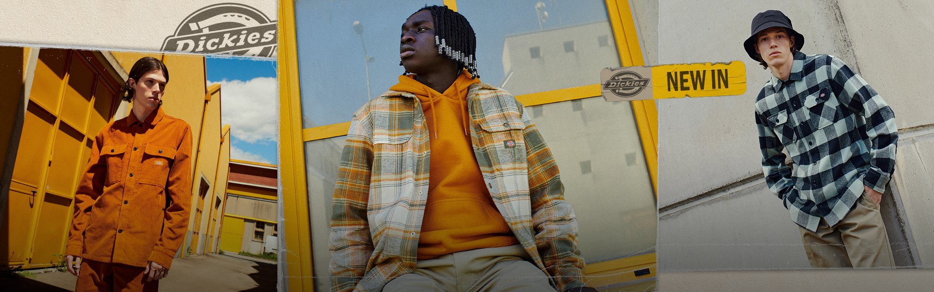 Models wear streetwear from Dickies fall-winter collection