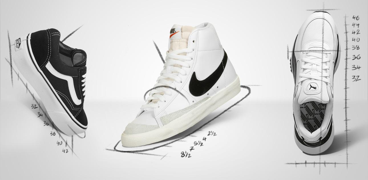 Vans, Nike und Puma Sneakers mit aufgezeichneten Schuhgrößen-Markierungen